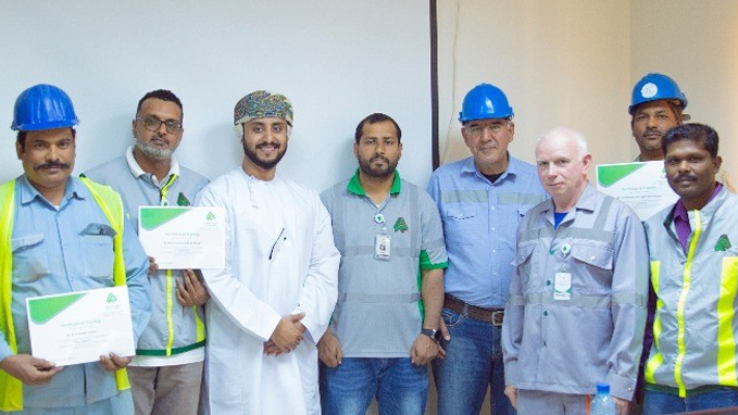 Honoring trainees in the course (working in high places using safety belts) under the supervision of the HSE Department