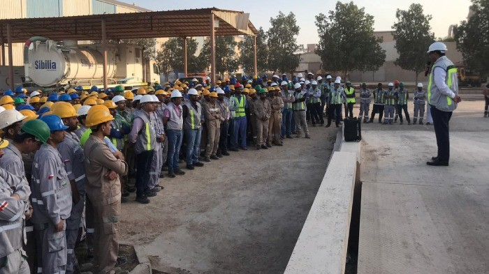 RCC holding a gate meetings regarding the initiatives of the factory, to reduce the injuries during safety performance